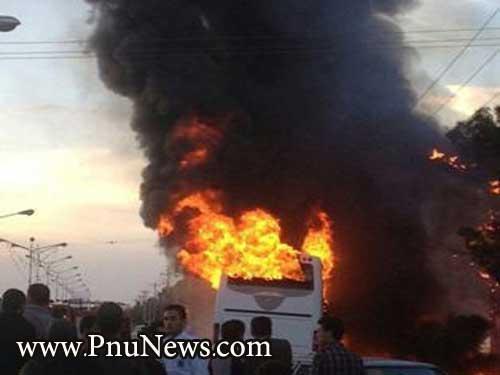 آتش سوزی اتوبوس دانشجویان