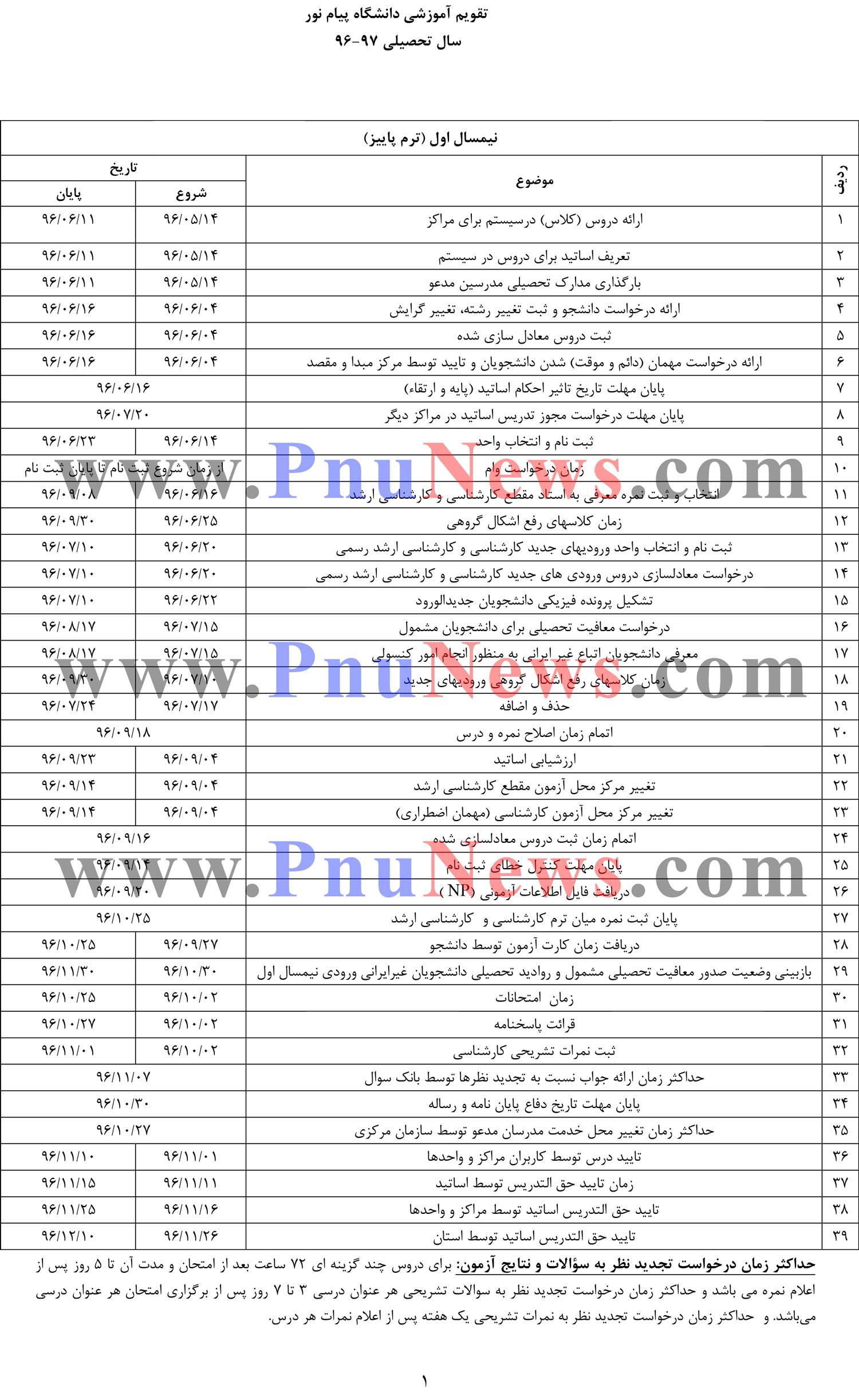تقویم آموزشی دانشگاه پیام نور ترم مهر 96