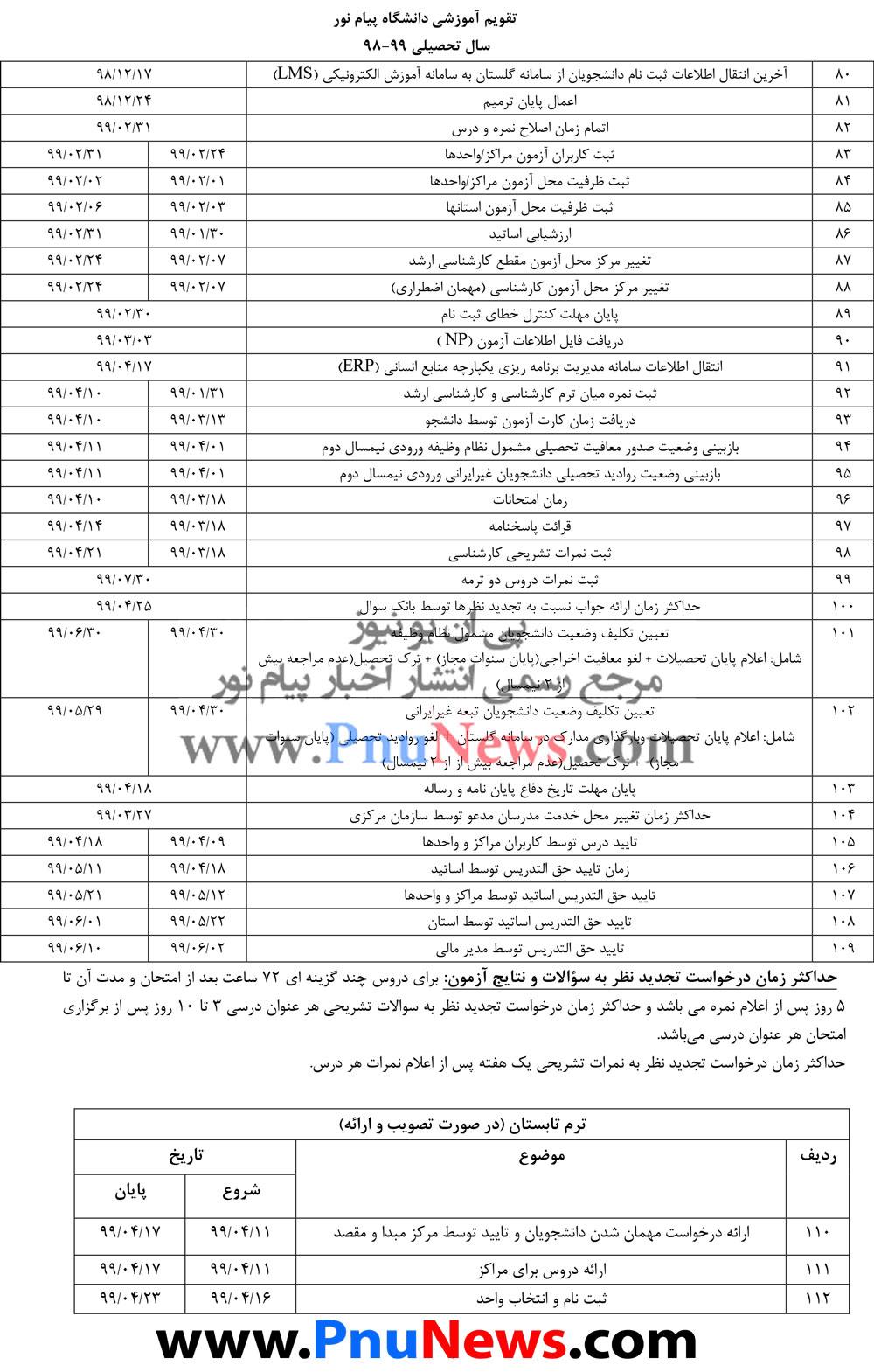 تقویم آموزشی دانشگاه پیام نور سال تحصیلی 99-98