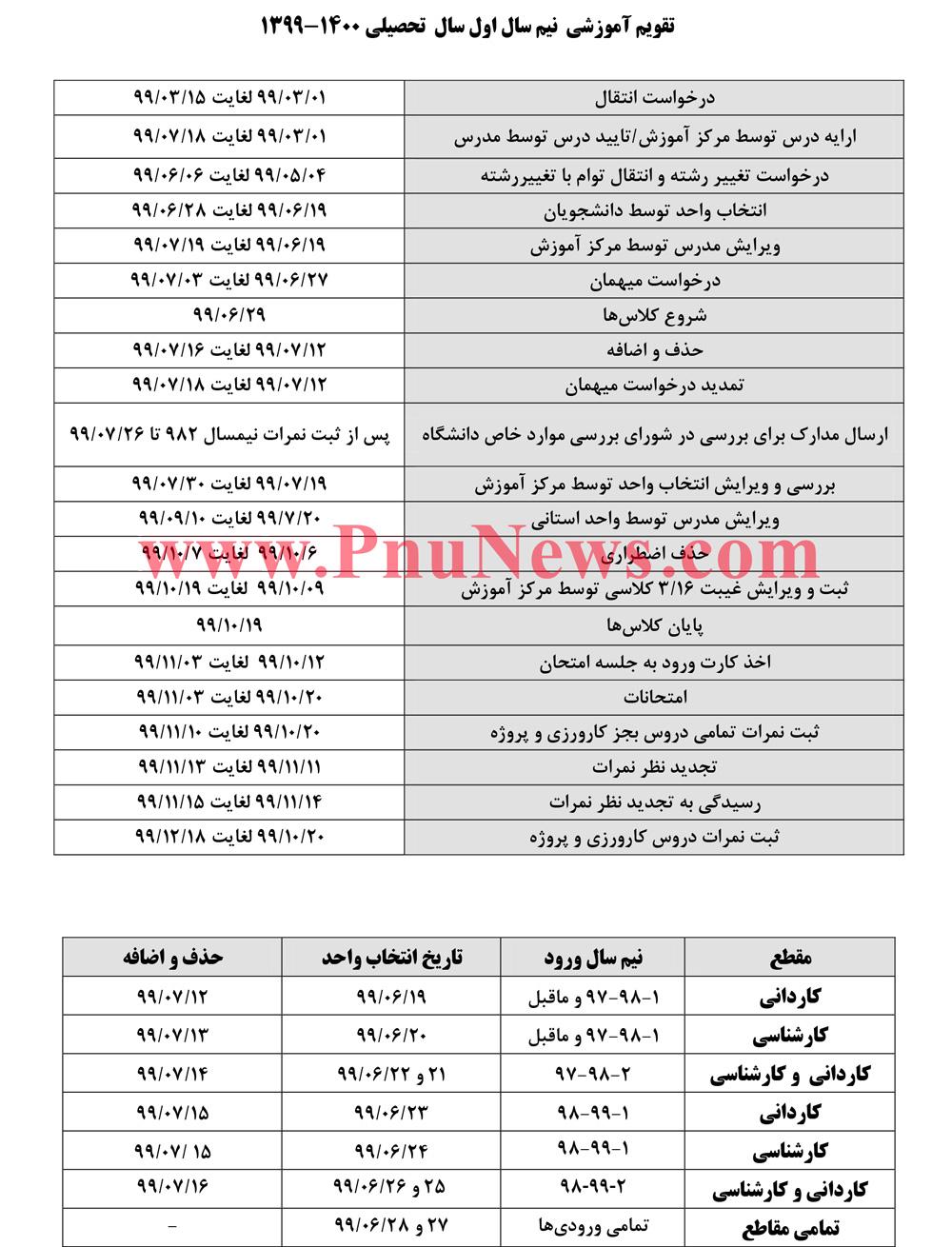 تقویم-آموزشی-ترم-مهر-99-دانشگاه-علمی-کاربردی