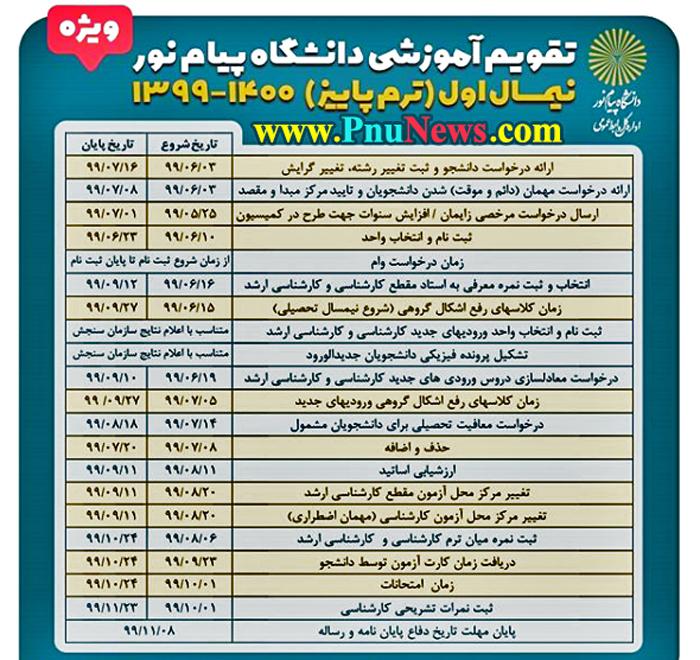 تقویم-آموزشی-ترم-مهر-99-دانشگاه-پیام-نور