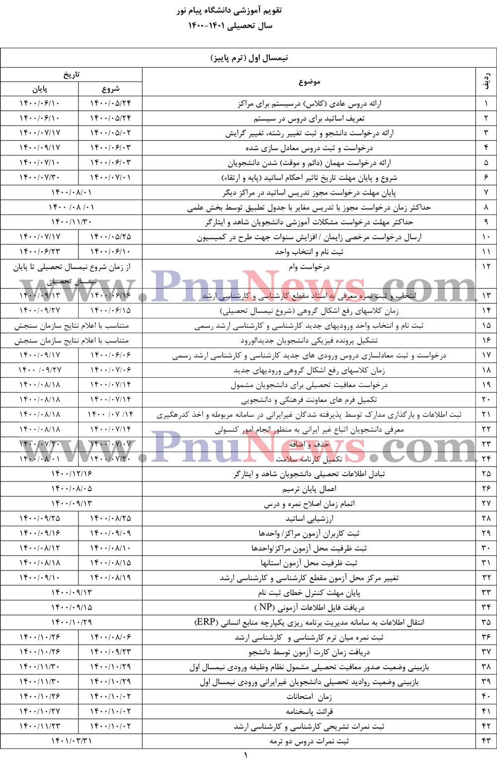 تقویم آموزشی 1401-1400 دانشگاه پیام نور