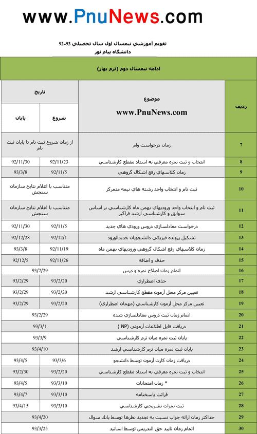 تقویم اموزشی دانشگاه پیام نور